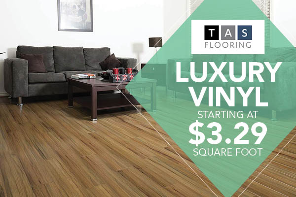 TAS Flooring Luxury Vinyl starting at $3.29 sq.ft. this month at Abbey Capitol Floors & Interiors in Olympia!